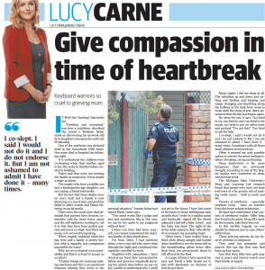 Compassion in time of heartbreak: Lucy Carne's OpEd Courier Mail Piece with some MC insight
