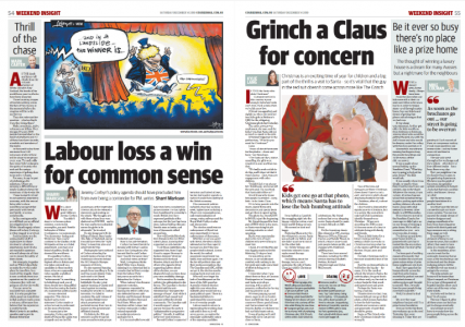 Thrill of the chase: My White Island piece in print in Brisbane Courier Mail (left column)