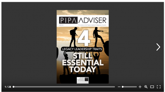 Four Legacy Leadership Traits: Cover, feature story for Edition 18 of PIPA Advisor