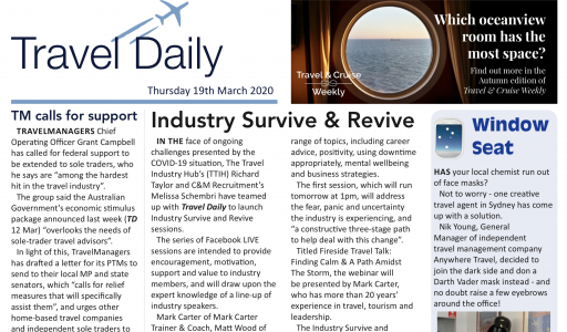 Revive And Survive: TRAVEL DAILY feature. Support initiatives for industries during coronavirus challenges