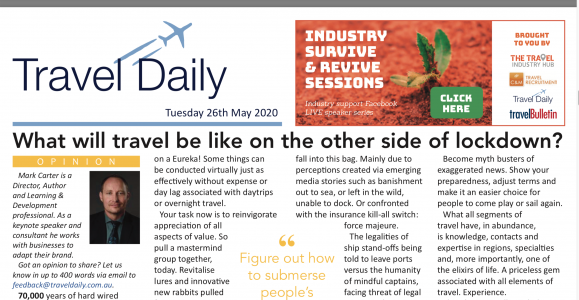 What will travel be like on the other side of lockdown: An insight feature for TRAVEL DAILY, May 2020