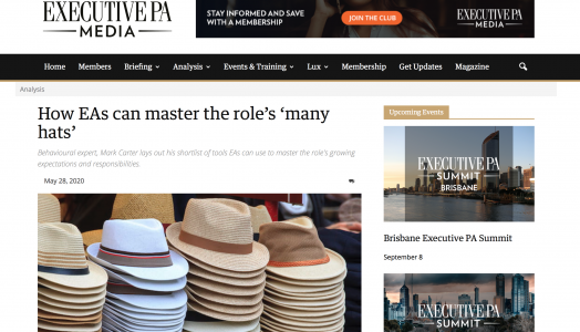 How EAs can master the role's 'many hats': featured in EXECUTIVE PA MEDIA – CHIEF of STAFF May 2020