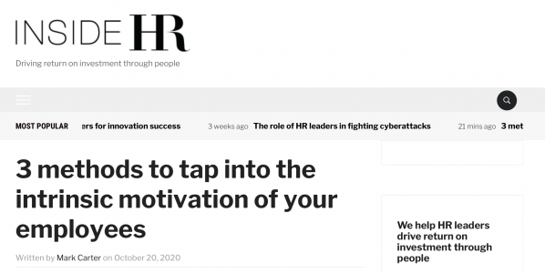 A bespoke feature with INSIDE HR: 3 ways to tap the intrinsic motivation of your employees