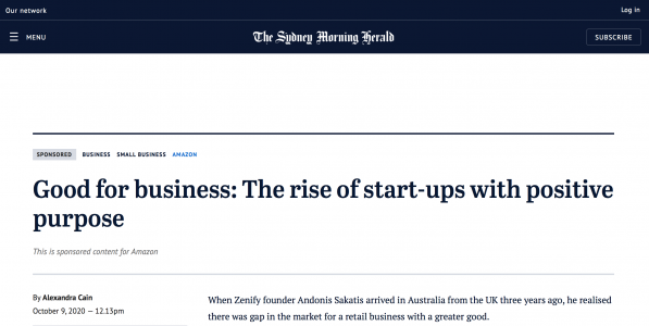 A contribution to SYDNEY MORNING HERALD: The rise of start ups with a positive purpose