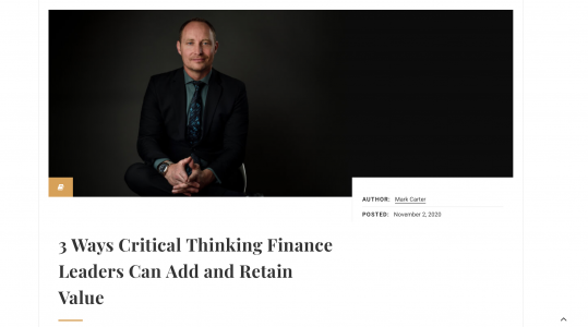 CFO Magazine: 3 ways critical thinking finance leaders can add and retain value